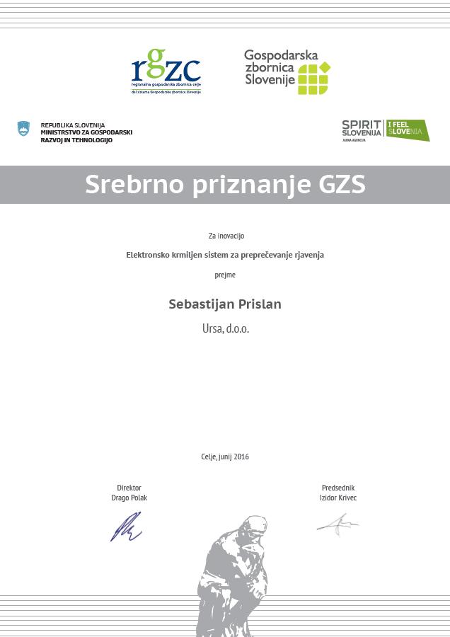Sebastijan Prislan - Ursa d.o.o. - srebrno priznanje