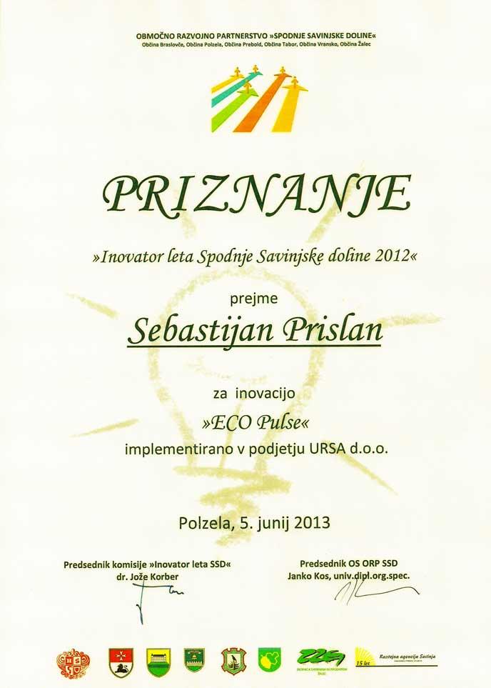 sebastijan prislan - ECOpulse - inovator leta